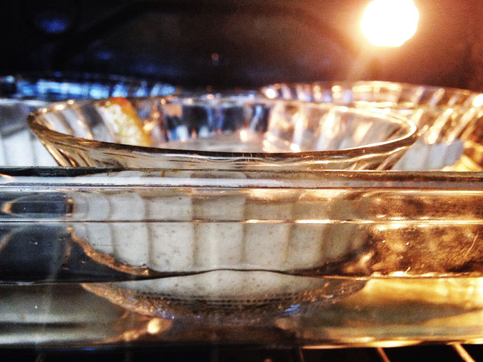 When using individual bowl be sure to bake in a tray of water to ensure even baking.
