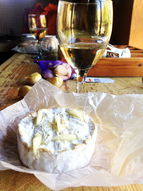 Baked Camembert and glass of wine